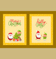 cards with holiday spirit and cartoon character vector image vector image