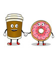 coffee cup and donut pop art vector image