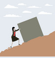 color scene rock landscape with business woman