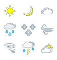 Colored outline weather forecast icons set vector image