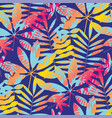 cool vivid bright color tropical leaves pattern vector image vector image