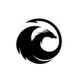 dragon silhouette circle logo design vector image