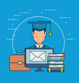 education on line with desktop display vector image
