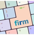 firm word on keyboard key notebook computer vector image vector image