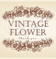 flower leaves vintage frame drawing logo vector image
