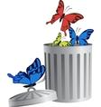 Flying object in trash bin-06 vector image vector image