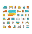 furniture icons set line colored symbols vector image vector image