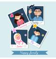 Happy Family set of Polaroid Photo Frames vector image
