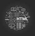 html coding linear concept on black vector image vector image