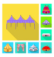 isolated object awning and shelter icon set of vector image