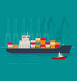 loaded container ship and tugboat at port vector image