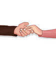 lovers making clasping hands to share comfort vector image vector image