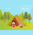 male lying in tent mountain and trees vector image vector image