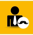 man silhouette business and moustache design icon vector image