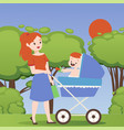 mother in park with bastroller woman cartoon vector image vector image