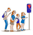 people waiting at a traffic light vector image