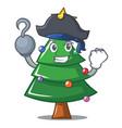 pirate christmas tree character cartoon vector image vector image