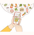 poster template with hands holding phone with food vector image