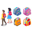 pupils set backpacks with supplies vector image