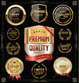 quality golden badges and labels collection vector image vector image