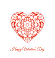red fretwork floral heart happy valentines vector image vector image