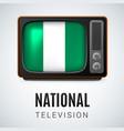 round glossy icon of nigeria vector image vector image