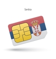 Serbia mobile phone sim card with flag vector image vector image