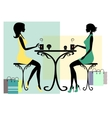 Silhouette of two fashionable shopping women vector image vector image