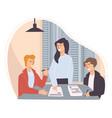 team employees thinking on project development vector image vector image