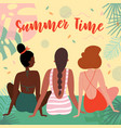 three women on vacation in swimsuit on the beach vector image vector image