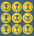 trophy and awards retro vintage collection 5 vector image vector image