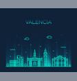 valencia skyline spain city linear style vector image vector image