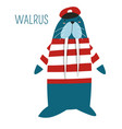 walrus in captain outfit childish book character vector image vector image