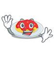 waving spaghetti character cartoon style vector image vector image