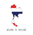 welcome to thailand text and thailand flag on map vector image vector image