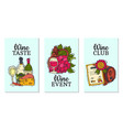 wine taste club cards glass vector image vector image
