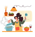 woman character cooking soup staying on kitchen vector image