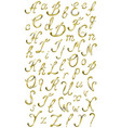 Gold alphabet with diamonds and gems letters YZ vector image