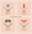 meat and butcher knives vector image