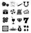 Casino gambling icons set vector image