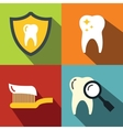 Dentistry medical flat icons on color background vector image