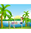 Two women doing yoga in the park vector image