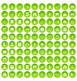100 guns icons set green circle vector image vector image