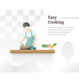 a man cooks food in kitchen vector image