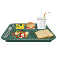A school lunch tray with copy space vector image vector image