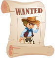 A special paper with an image of a wanted man vector image vector image