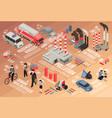 air pollution isometric flowchart vector image vector image