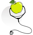 apple and stethoscope vector image