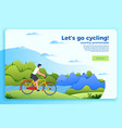 bicycle ride banner with man on a bike vector image