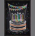 birthday cake with candle festive decorations and vector image